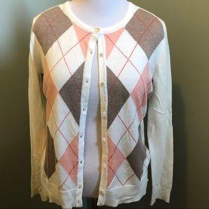 New York & Co Argyle Cardigan Sweater